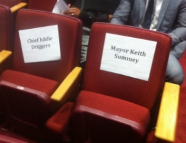 Seats reserved for Mayor Summey and Police chief Driggers at Nehemiah, 04.18.16.jpg
