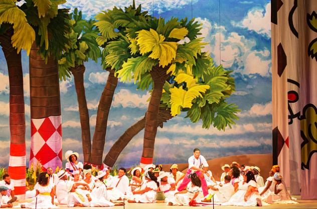 "Scene from picnic on Kittiwah Island (modeled after the real Kiawah Island) in Spoleto's ""Porgy and Bess."" Visual Designer Jonathan Green is responsible for the overall look. Courtesy Spoleto Festival USA."
