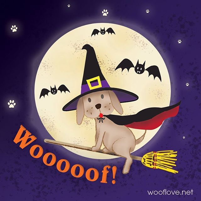 Happy Woof Halloween! #halloween #dog #dogillustration #illustration #kidsillustration #petillustration #wooflove #woofloveart