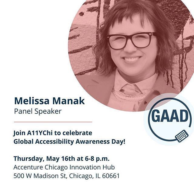 Looks like I'll be speaking about my experience with accessibility. If you're in Chicago, come see me speak! But sign up for the meet up. Limited slots!