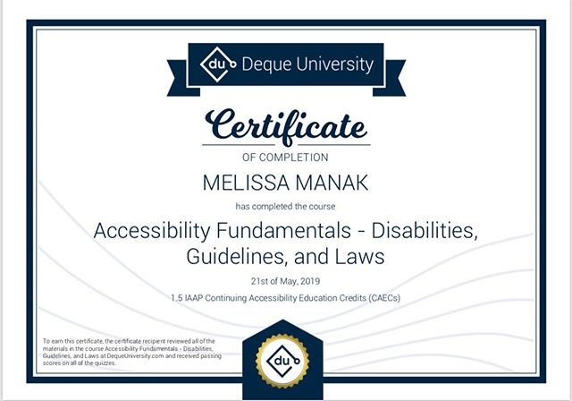 Decided to put my foot in my mouth and start towards my license in accessibility. Step 1 completed... #accessibility #inclusion #webaccessibility #dequeuniversity