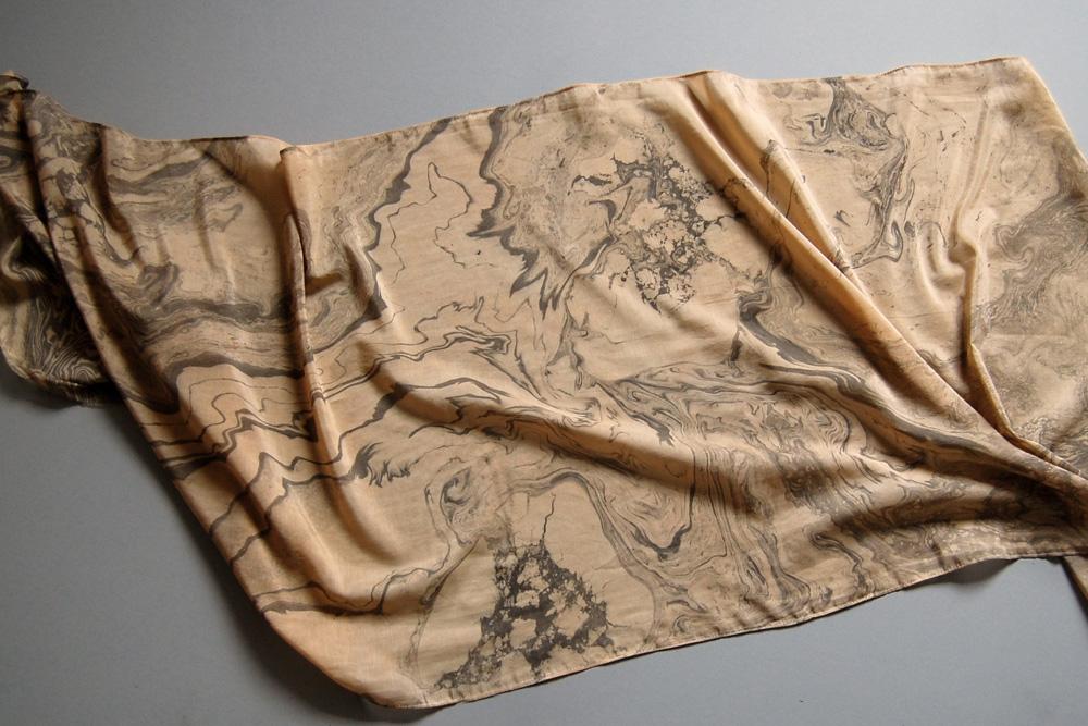 suminagashi marbled scarf xvii