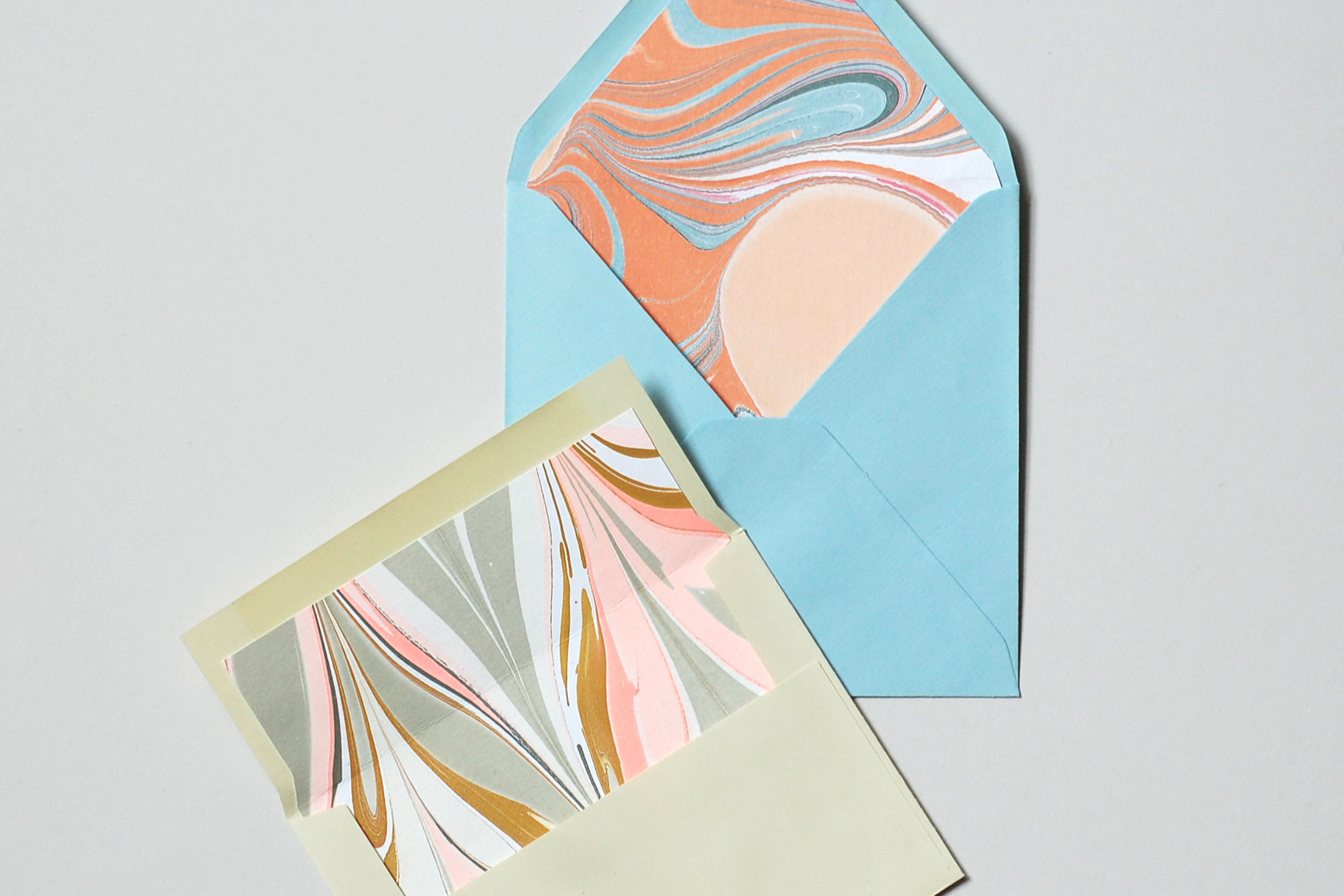 custom marbled envelope liners by natalie stopka