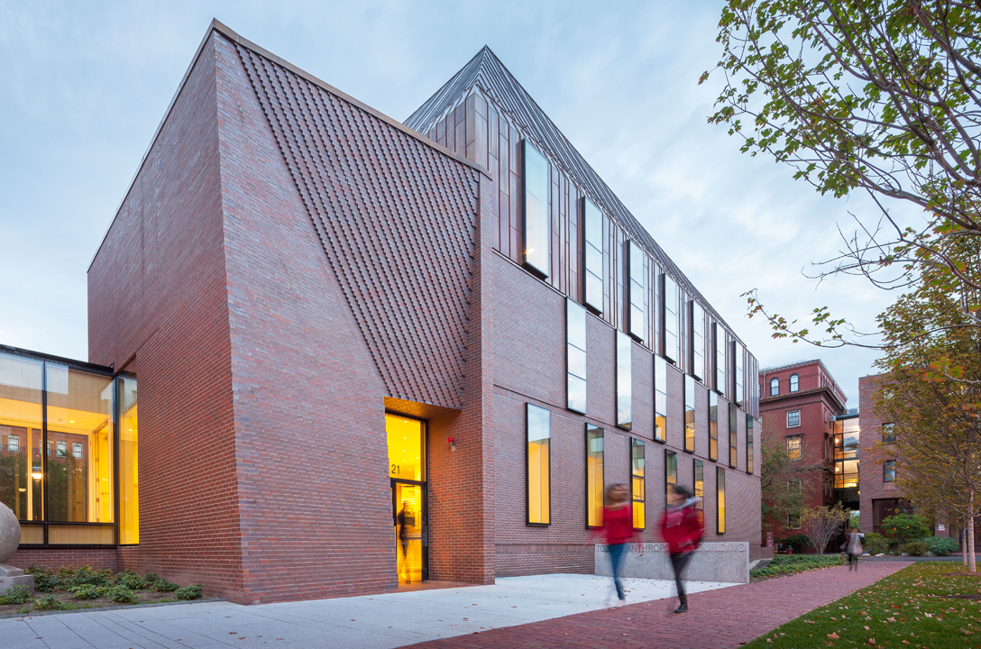 Tozzer Building     with Kennedy & Violich Architecture, Ltd. | Cambridge, MA [2014]   The design invents a digitally corbelled brick detail at the new entry that is directly linked with the overall geometry of the building massing, with each brick course shifted from the course below in parallel with the building structure. (Text by KVA)