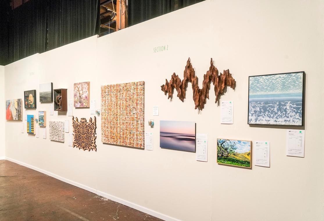 "ArtSpan Benefit Art Auction in San Francisco 2018: ""Wild Times"" wooden wall sculpture (photo credit: Scott Fin)"