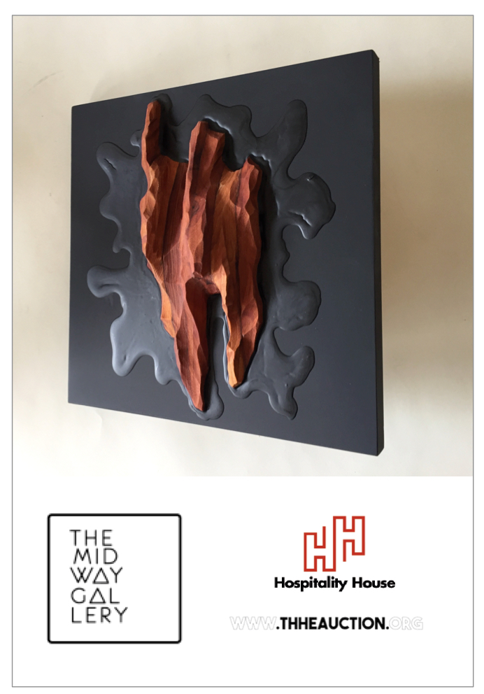 "Midway Gallery San Francisco art auction for Hospitality House with wall sculpture ""Splash"" by Lutz Hornischer"