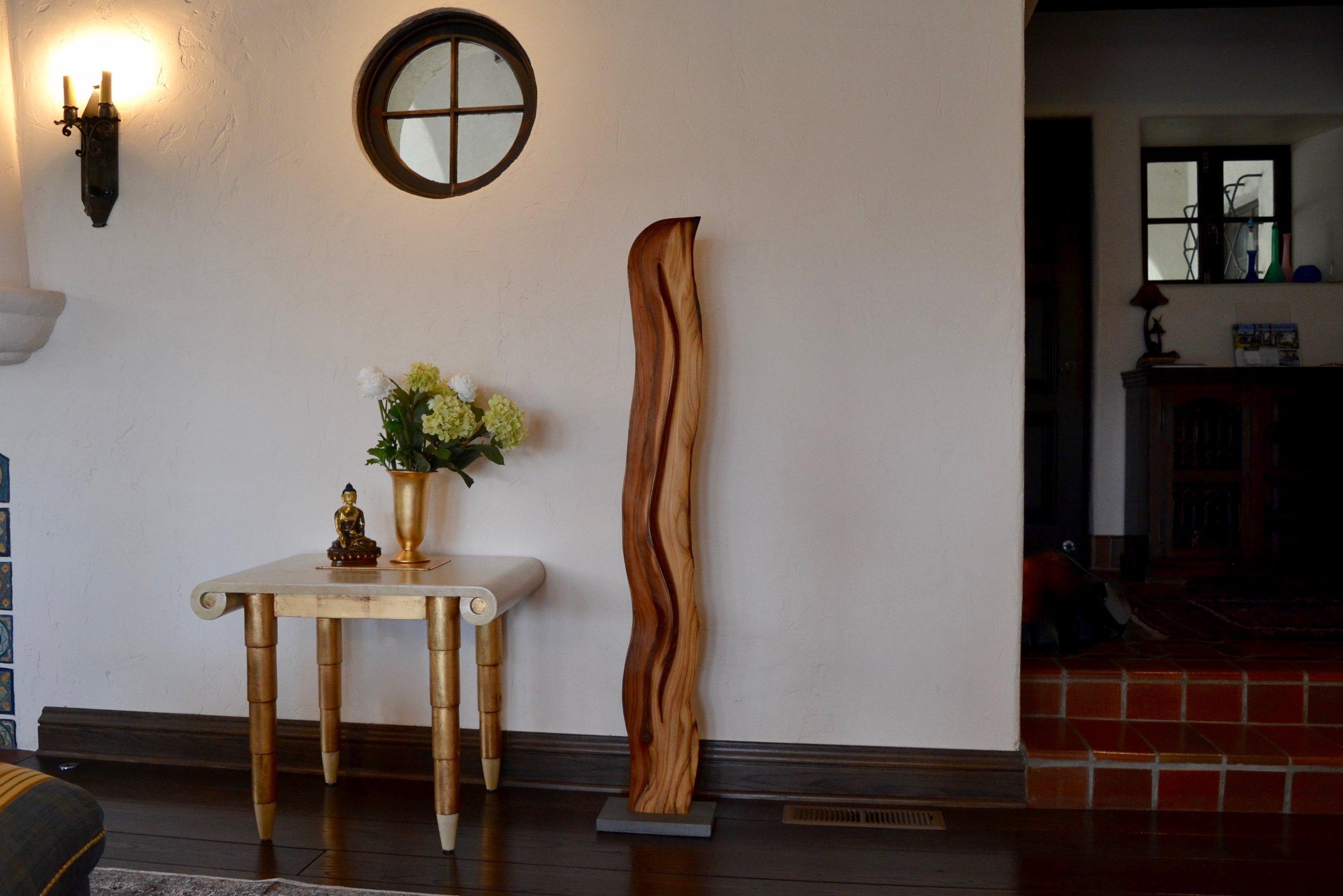 "Wood sculpture ""La Luz"" in private residence in Orinda"