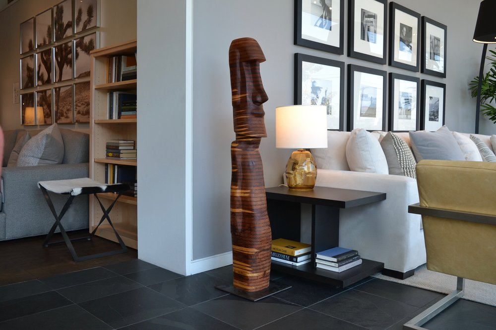 "Wood sculpture ""Easter Island 71"" at Room and Board San Francisco"