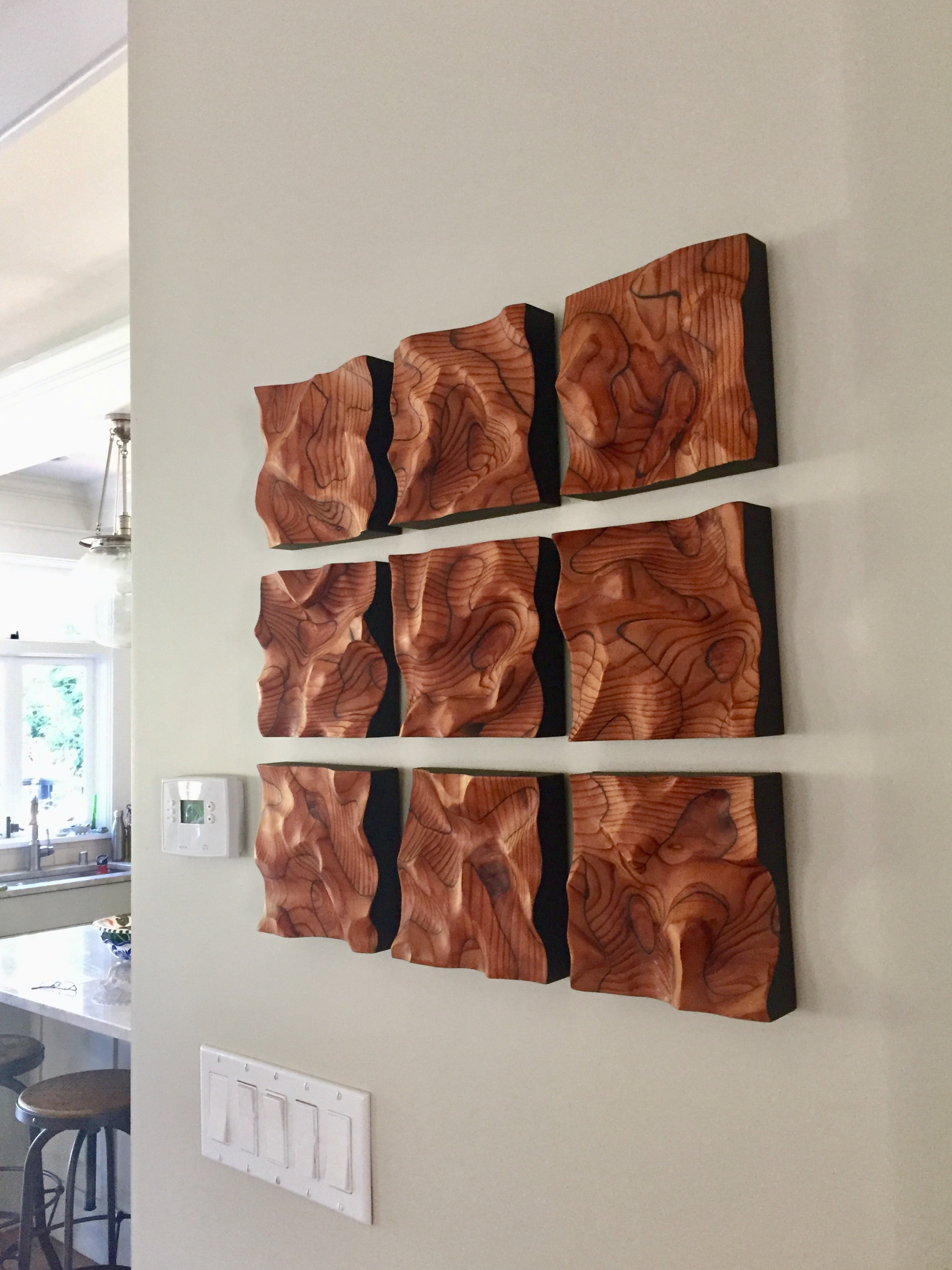 "Abstract wall art ""Go with the Flow II"" in kitchen of collector home in Berkeley"