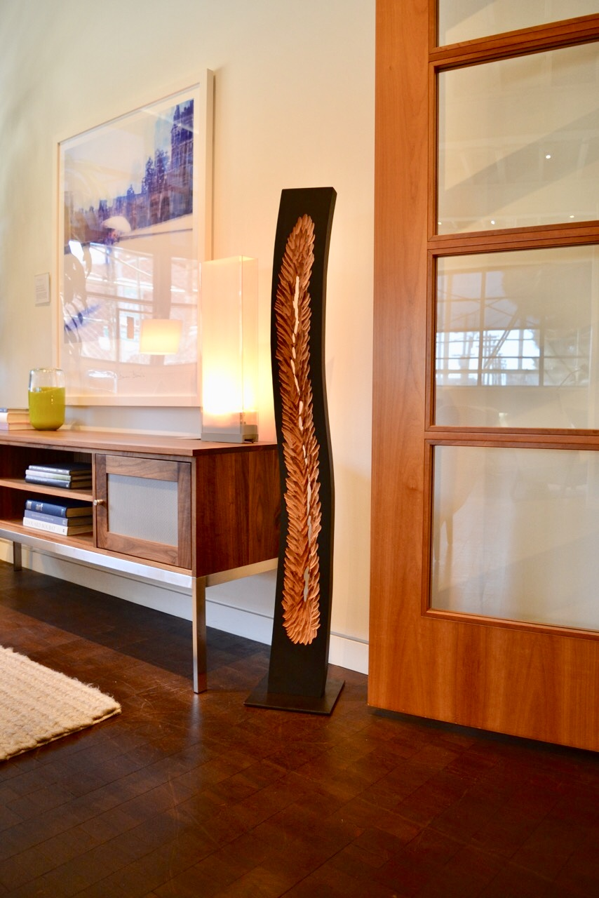 "Modern sculpture ""Burning Desire"" in the designer showroom at Room and Board San Francisco"