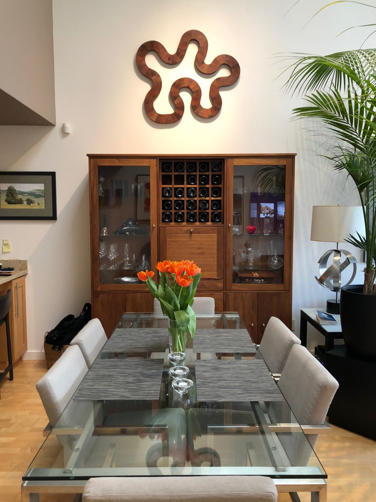 "Abstract wall sculpture ""Big Puzzle of Life"" in a beautiful collector home in San Francisco"