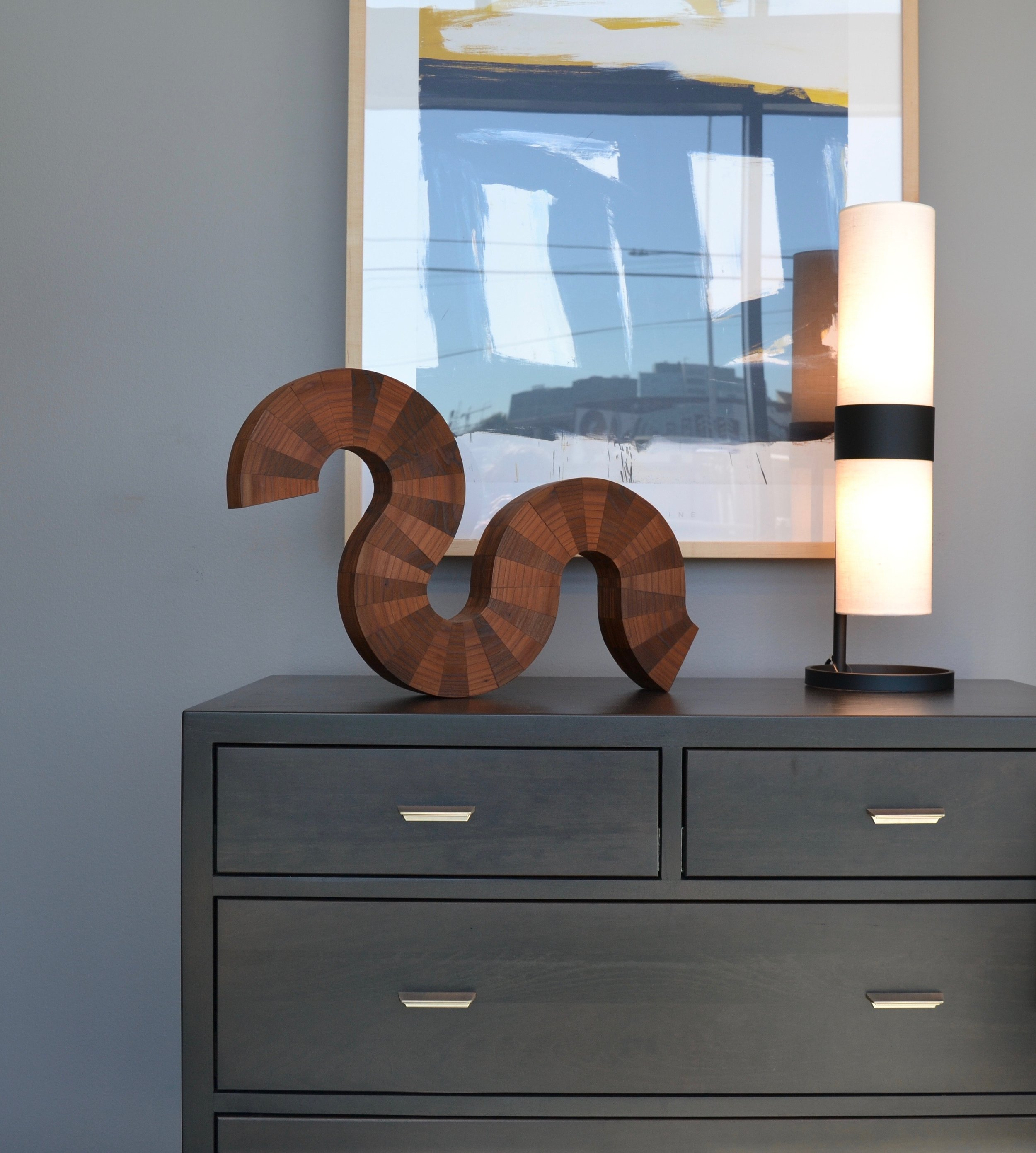 "Table-top sculpture ""Curled-Up"" at Room and Board San Francisco"