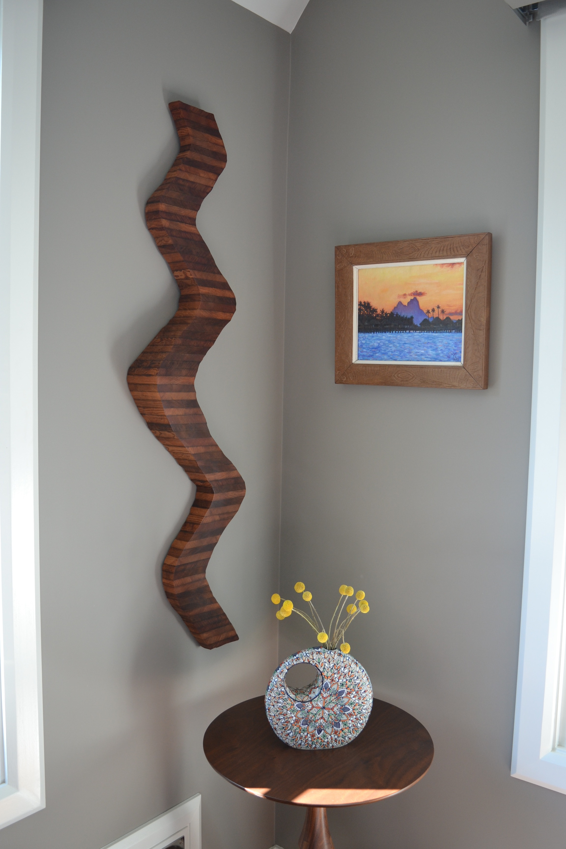 "Wooden wall installation ""Remember the Time"" in collector home San Francisco"