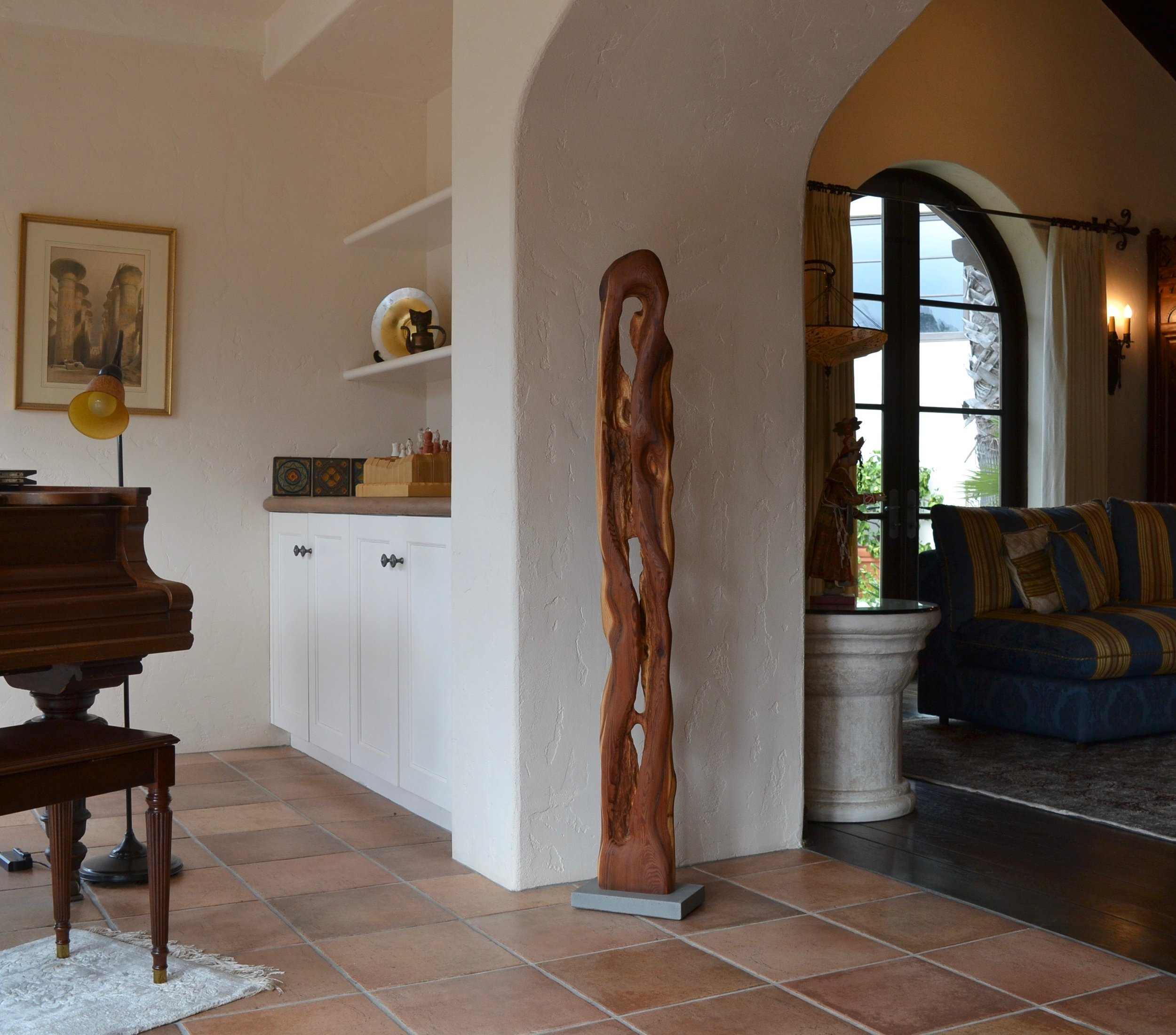 "Abstract wood sculpture ""Carved by Time"" in living room of a home in Orinda"