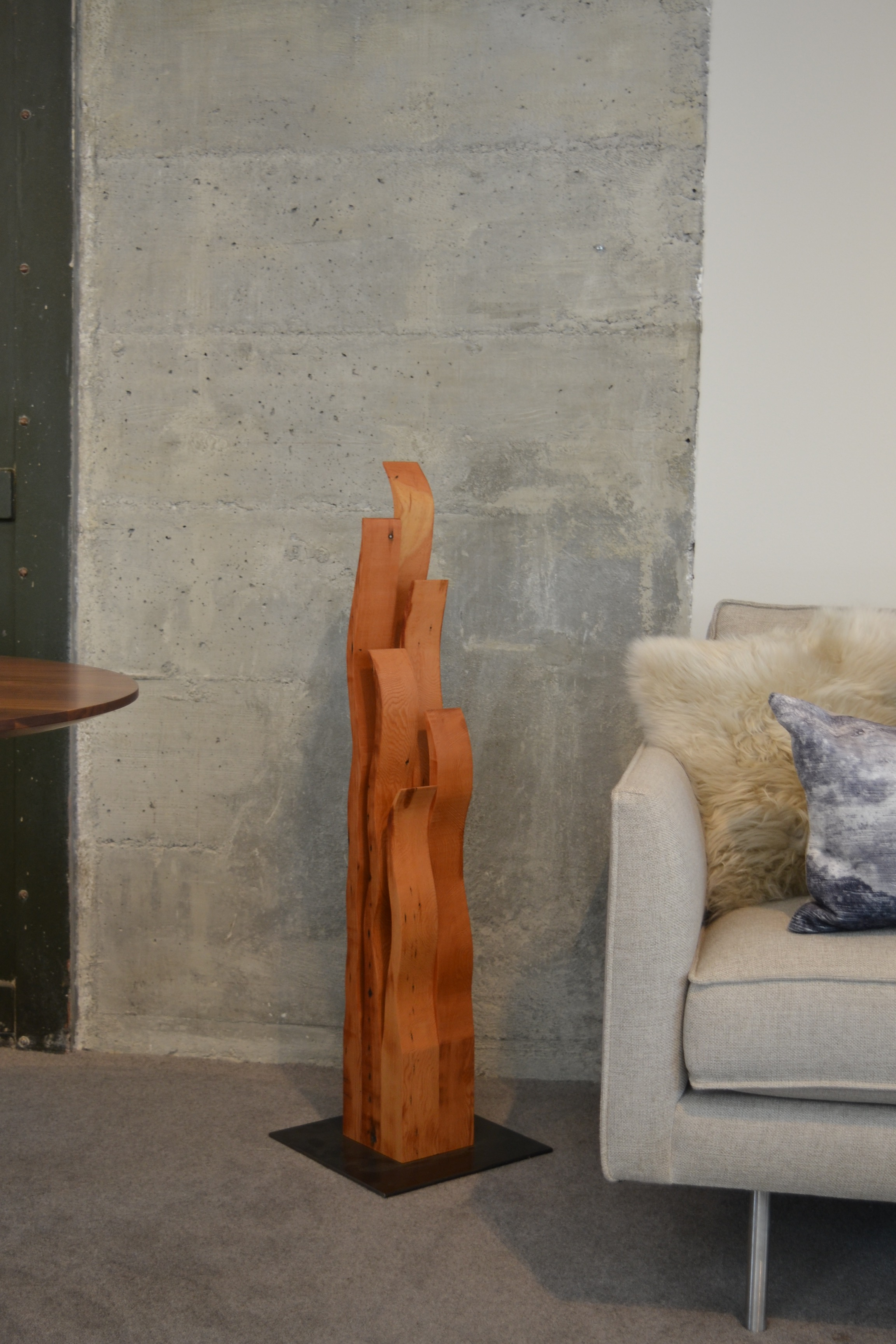 "Floor sculpture ""Flames"" at Room and Board San Francisco"