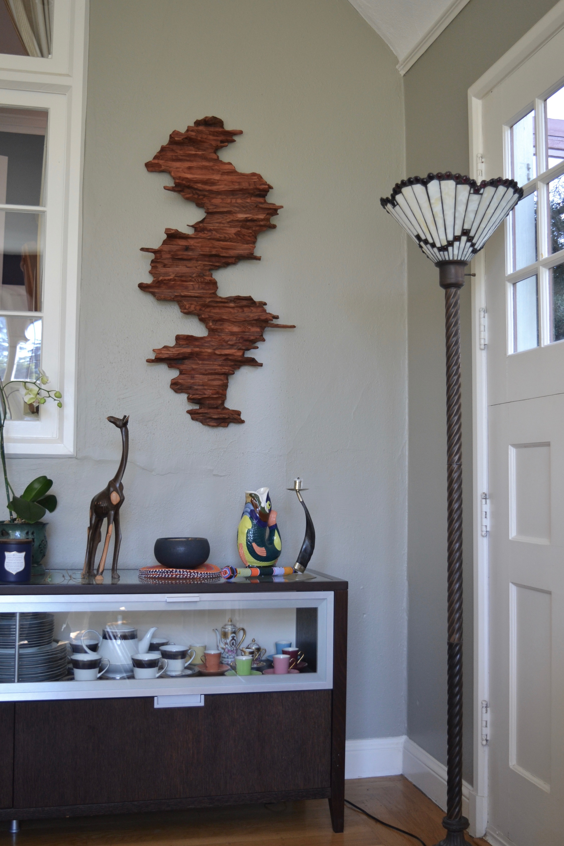 "Wall sculpture ""Beautiful View"" in living room of a collector home in San Francisco"