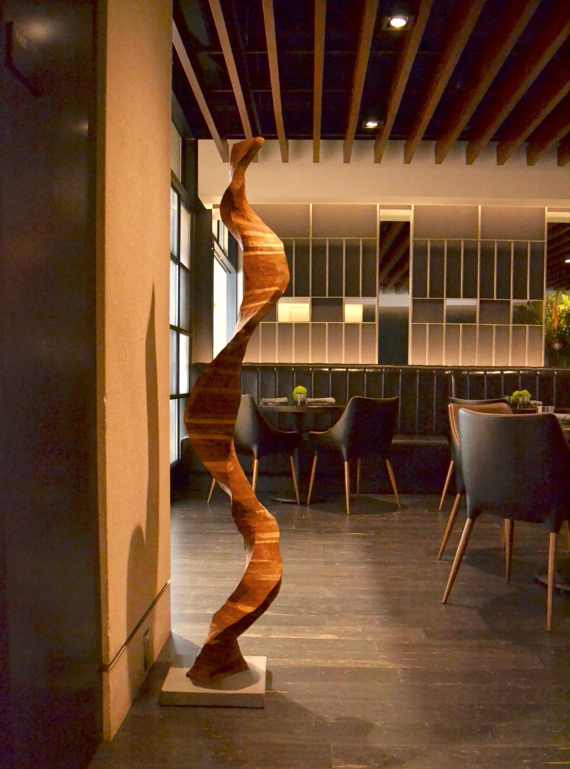 "Modern sculpture ""Helix"" at The Vault restaurant on 555 California street in San Francisco"