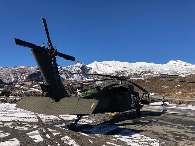 Back up Whakapapa yesterday and today to remove more towers! Some of the old towers from the Waterfall Express Chairlift in the second picture  #KahuNZ #blackhawk #uh60