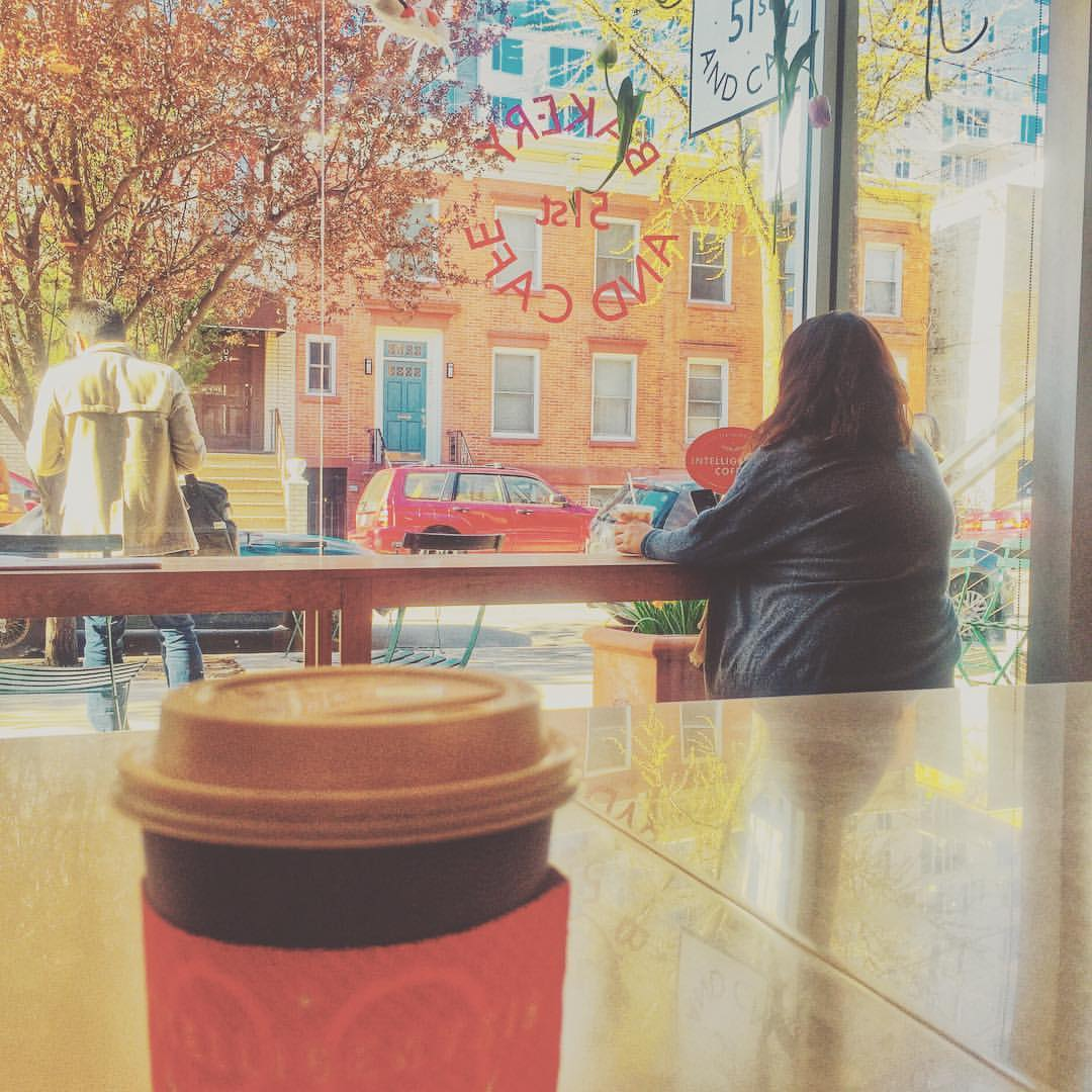 """Waiting out a 7 train """"earlier incident"""" at 51st bakery & cafe with a capp & a croissant                #lic #licqueens #licny #queensnyc #queenscapes #queenslove #queens #longislandcity #heartofqueens  (at 51st Bakery and Cafe)"""