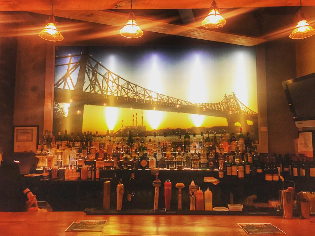 Come see this awesome Queensboro Bridge behind the bar at Crescent Grill in Long Island City – there's a complimentary happy hour at 8:30pm.  Stop by!!!!