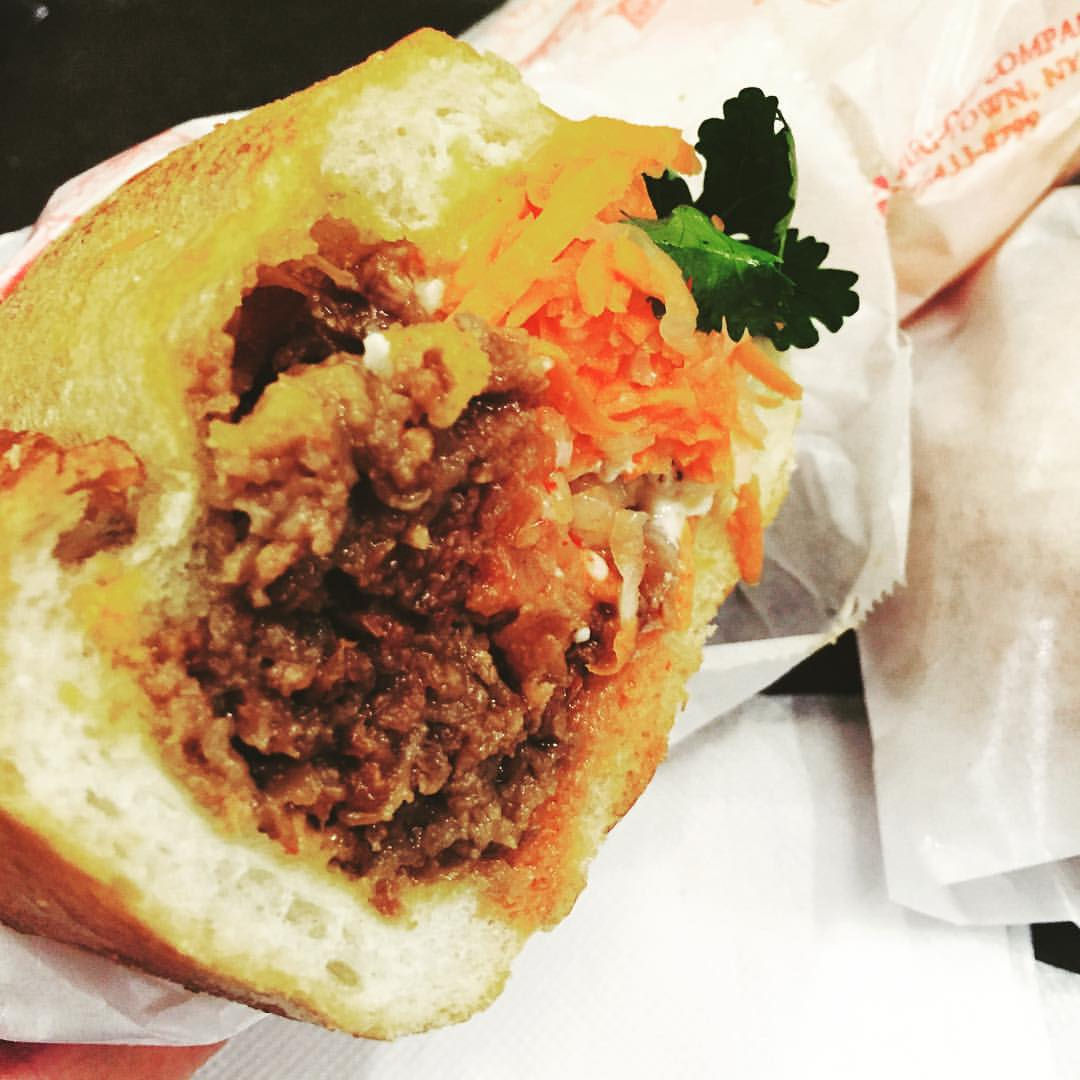 """You can't go wrong with the bulgogi bahn mi with a fried egg on it aka the """"bomb me"""" from JoJu in Elmhurst"""