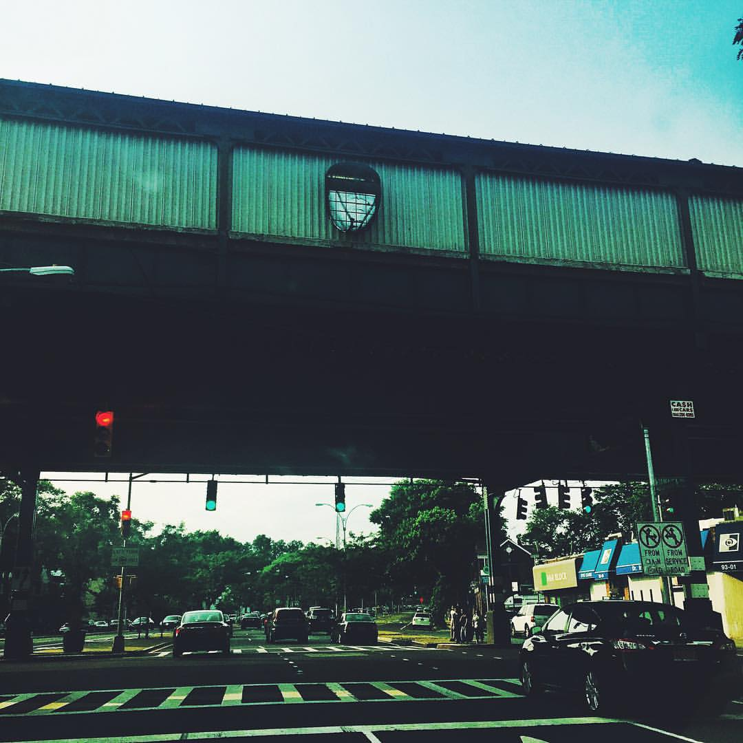 """""""The true mystery of the world is the visible, not the invisible"""" - Oscar Wilde.  This face overlooking Woodhaven Blvd is part of the """"Five Points of Observation"""" on the Jamaica line."""