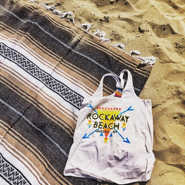 Day 28/100: Wishing it was not foggy (and the weekend) so here's a pic of some of the goodies I picked up in #Rockaway a couple weeks ago.  Beach blanket is from my favorite local mobile boutique @endofthea & the tank is from the cutest new shop on 116th @lola_star  (at Rockaway Park – Beach 116th Street)