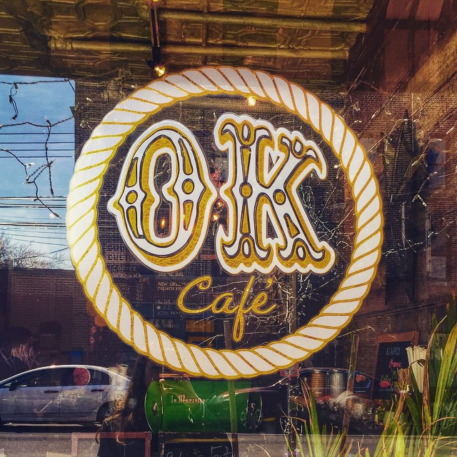 This place is so cute!  Enjoying some iced green tea lemonade from @ok_cafe #astoria #matcha Happy Easter #Queens ! #heartofqueens  (at OK Cafe Astoria)