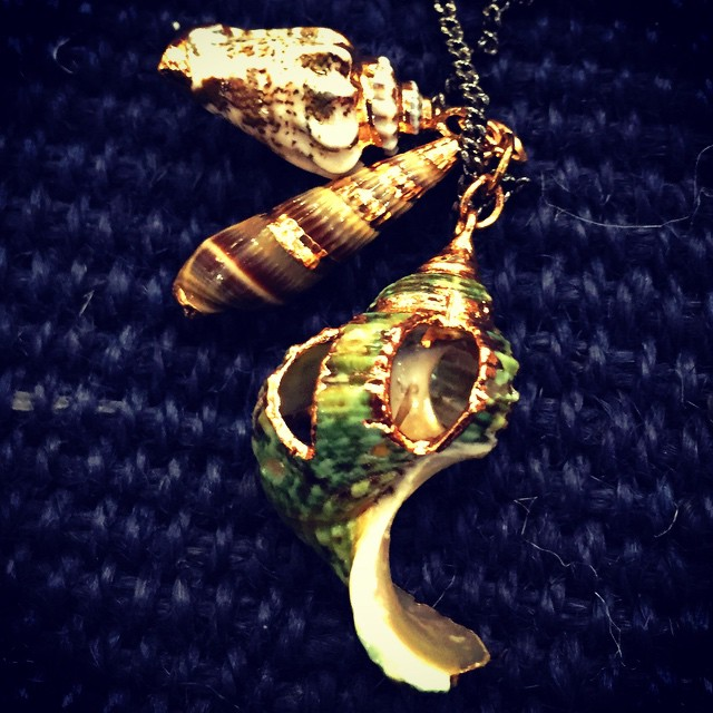Love this gold edge shell necklace from @lodestarnyc #astoria #queens #qnsmade #queensfashion
