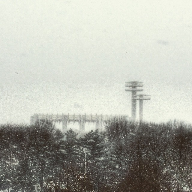The NYS pavilion as seen from the snowy LIE the other day when @lauumariee was driving #flushingmeadows #corona #queens #queenscapes #heartofqueens  (at New York State Pavilion)
