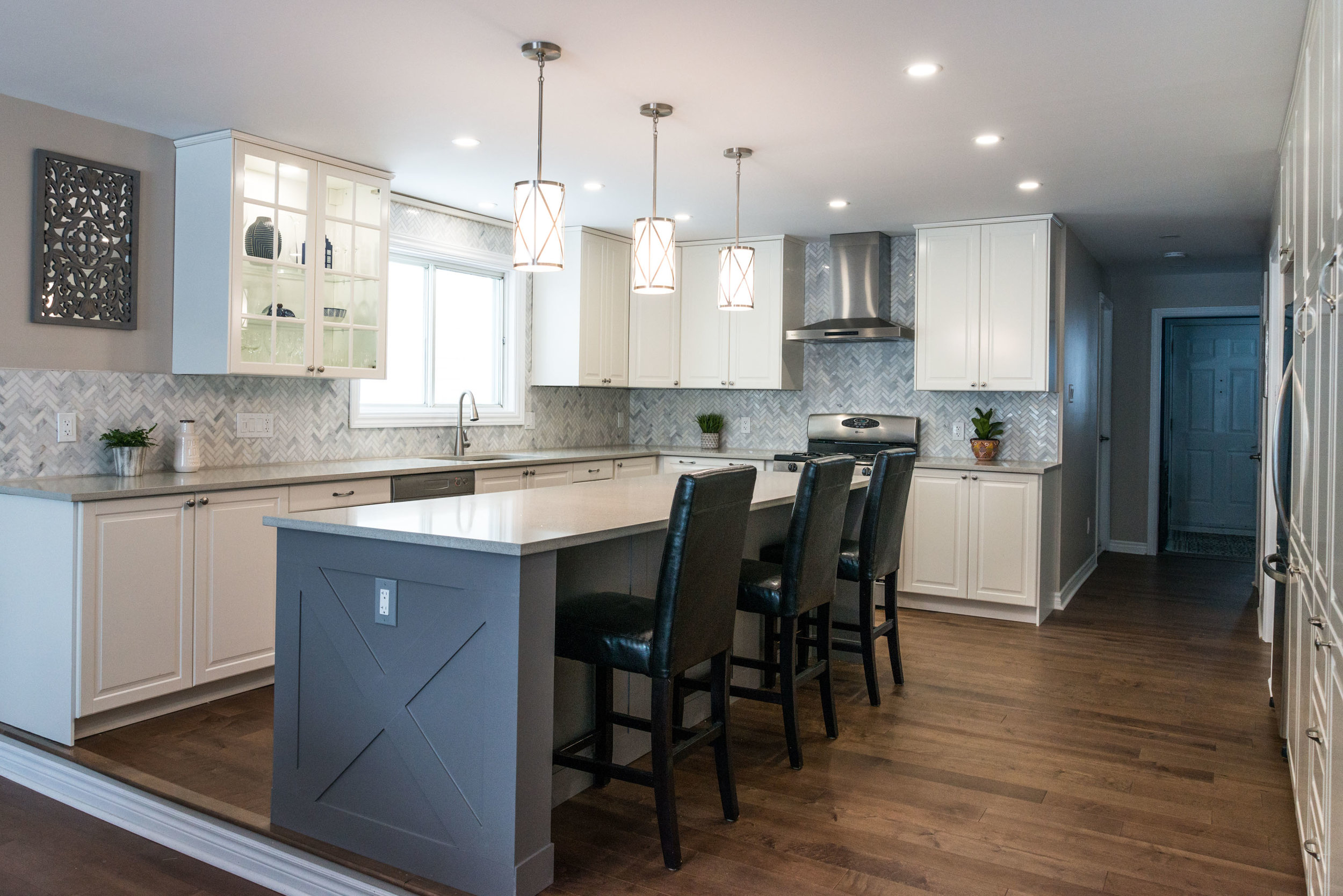 KITCHEN - If you are tired of your out-dated kitchen, we can help design a new functional space. Most older kitchens have a closed in feel, knocking down a load-bearing wall can really open it up.