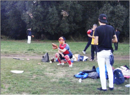 Playing catcher in the local park with some Italian friends