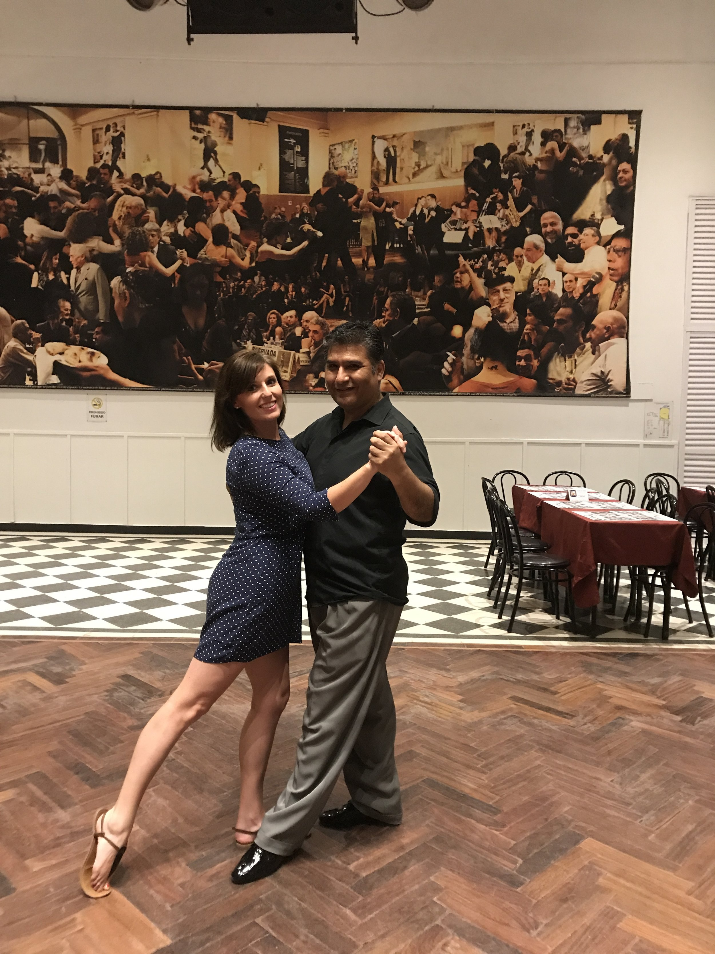 Brooke and her tango teacher, Javier, in Buenos Aires, Argentina (January 2018)