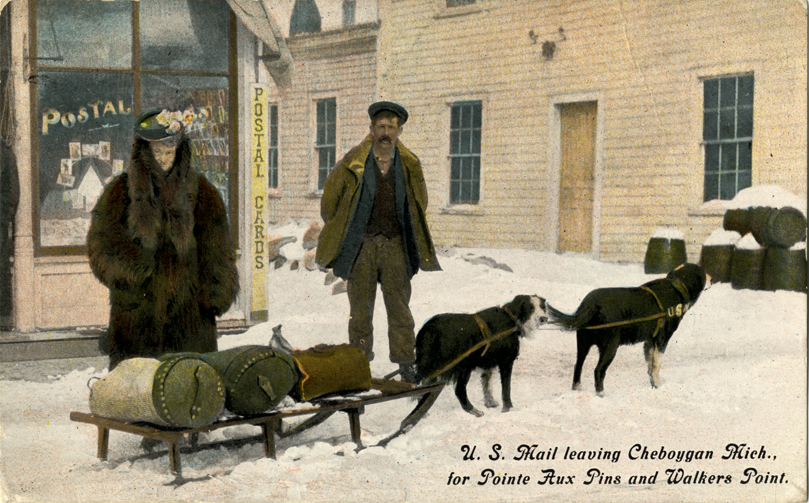Dogsled carrying mail, Cheboygan, Mich. Via the  Detroit Public Library .