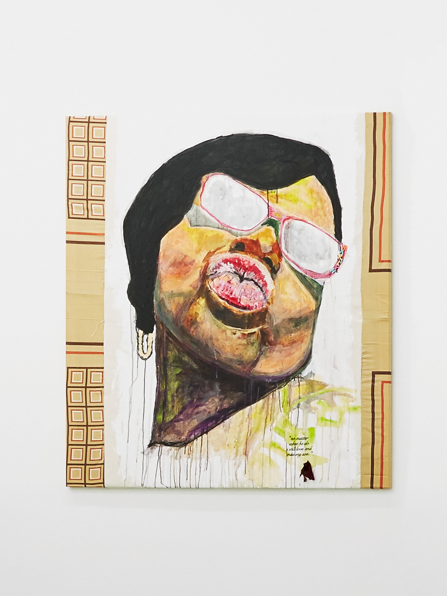 """Tameka Jenean Norris, Marilyn,""""No Matter What He Do I Still Love and Miss My Son"""", 2016, fabric, canvas, acrylic paint, thread, 50x50 in."""