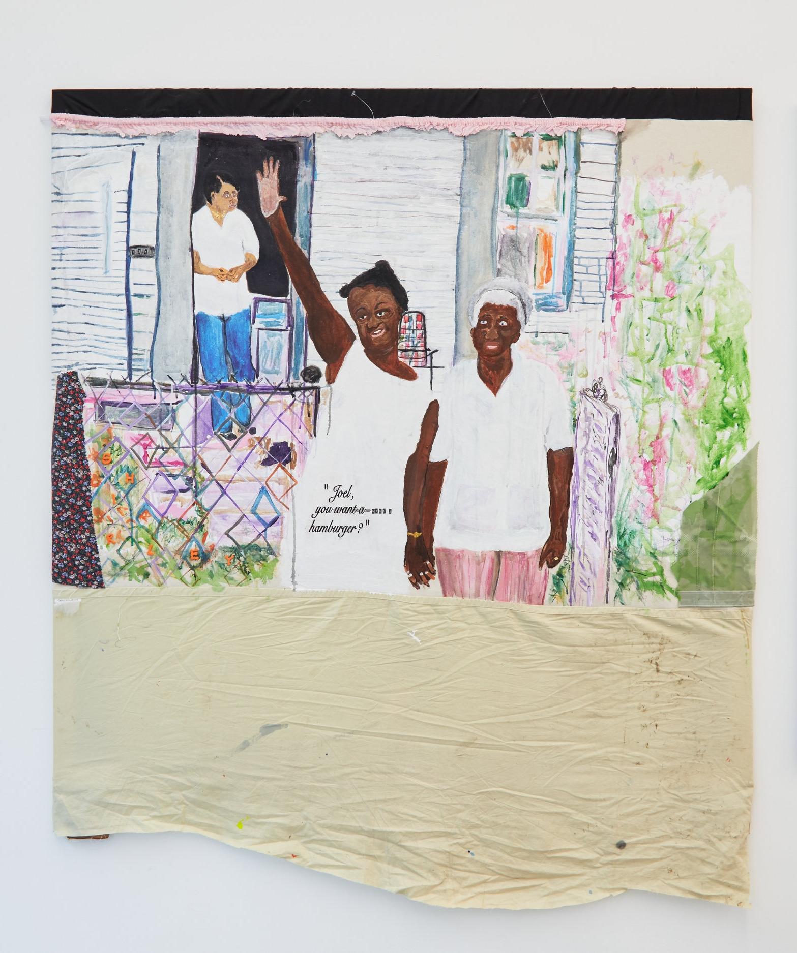 "Tameka Jenean Norris, ""Joel, You Want a Hamburger"", 2016, fabric, canvas, acrylic paint, thread, oil pastel, 50 x 50 in."