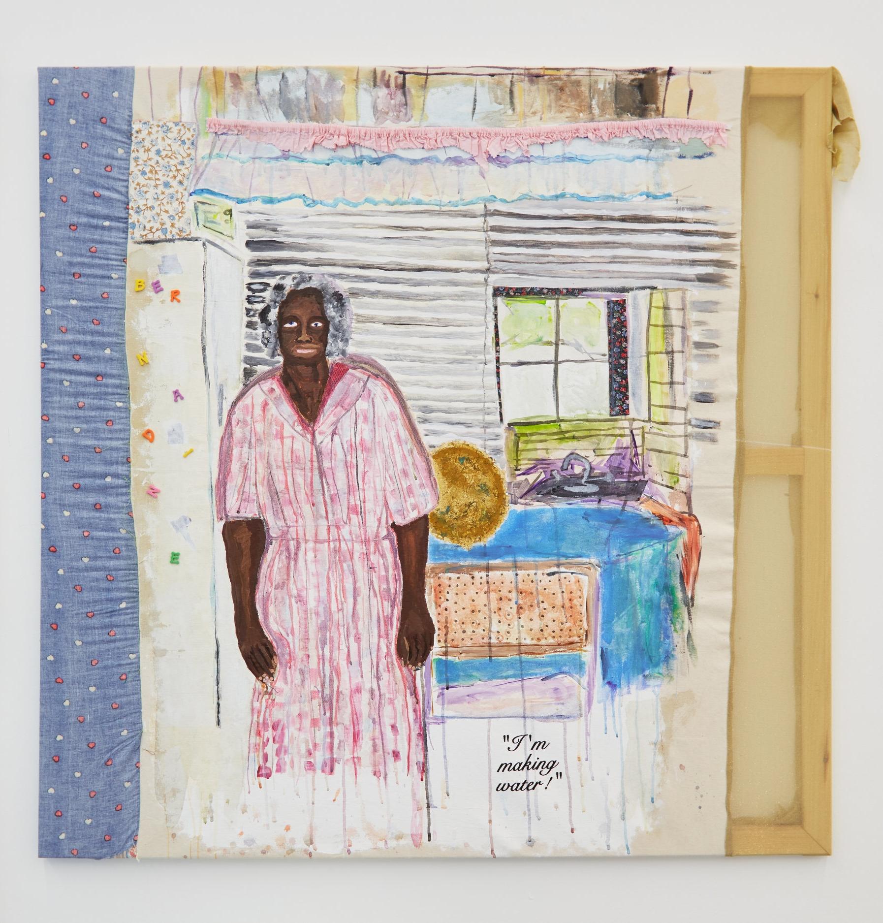 "Tameka Jenean Norris, Grandma Bernardine, ""I'm Making Water"", 2016, fabric, canvas, acrylic paint, thread, oil pastel, 48x48 in."
