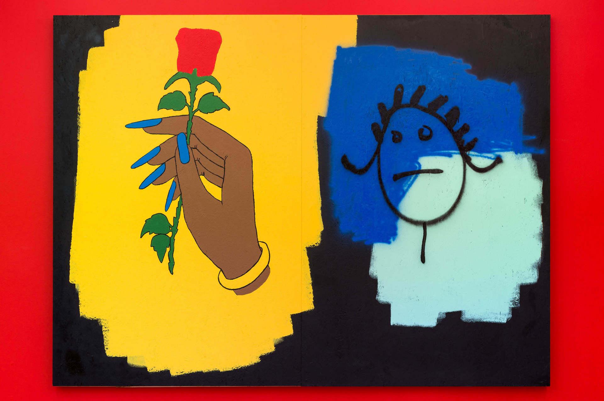 Same Ol' Mistakes, House and spray paint on OSB, 72 x 96 in. Courtesy Nina Johnson Gallery and artist.