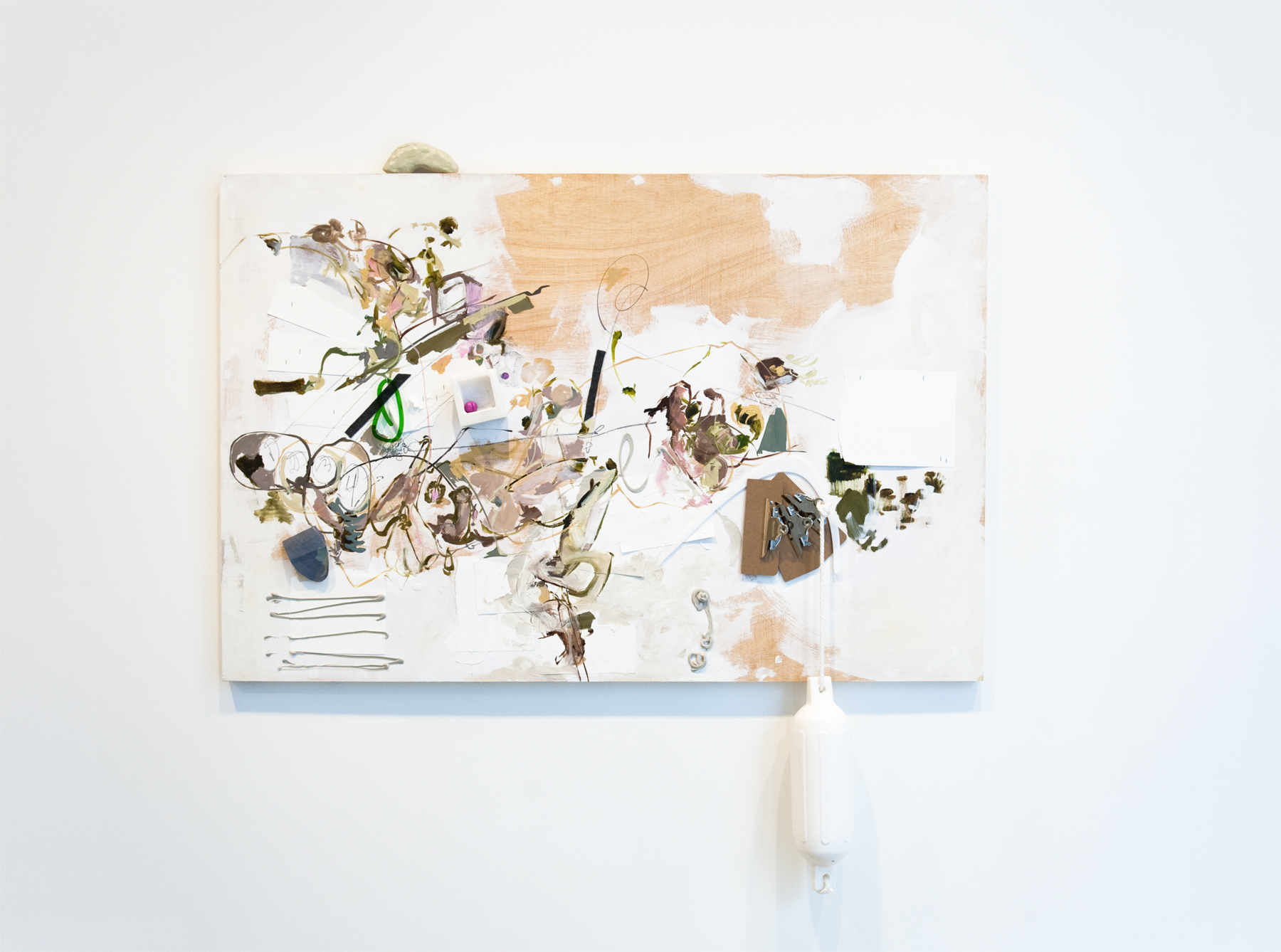 What I learned, 2017 polymer clay, resin, plexiglass, paper, styrofoam, clipboards, buoy, rope, canvas, felt, graphite, acrylic, and oil on panel 48 x 72 inches 121.9 x 182.9 cm