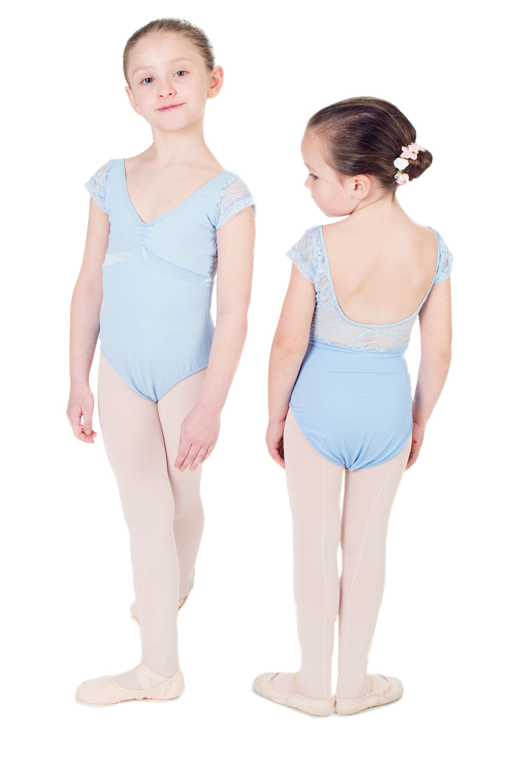 """Aurora"" Cap Sleeved Leotard with Velvet Inset and Lace or Mesh Details - Custom Designed Leotards - Child and Adult Sizes"