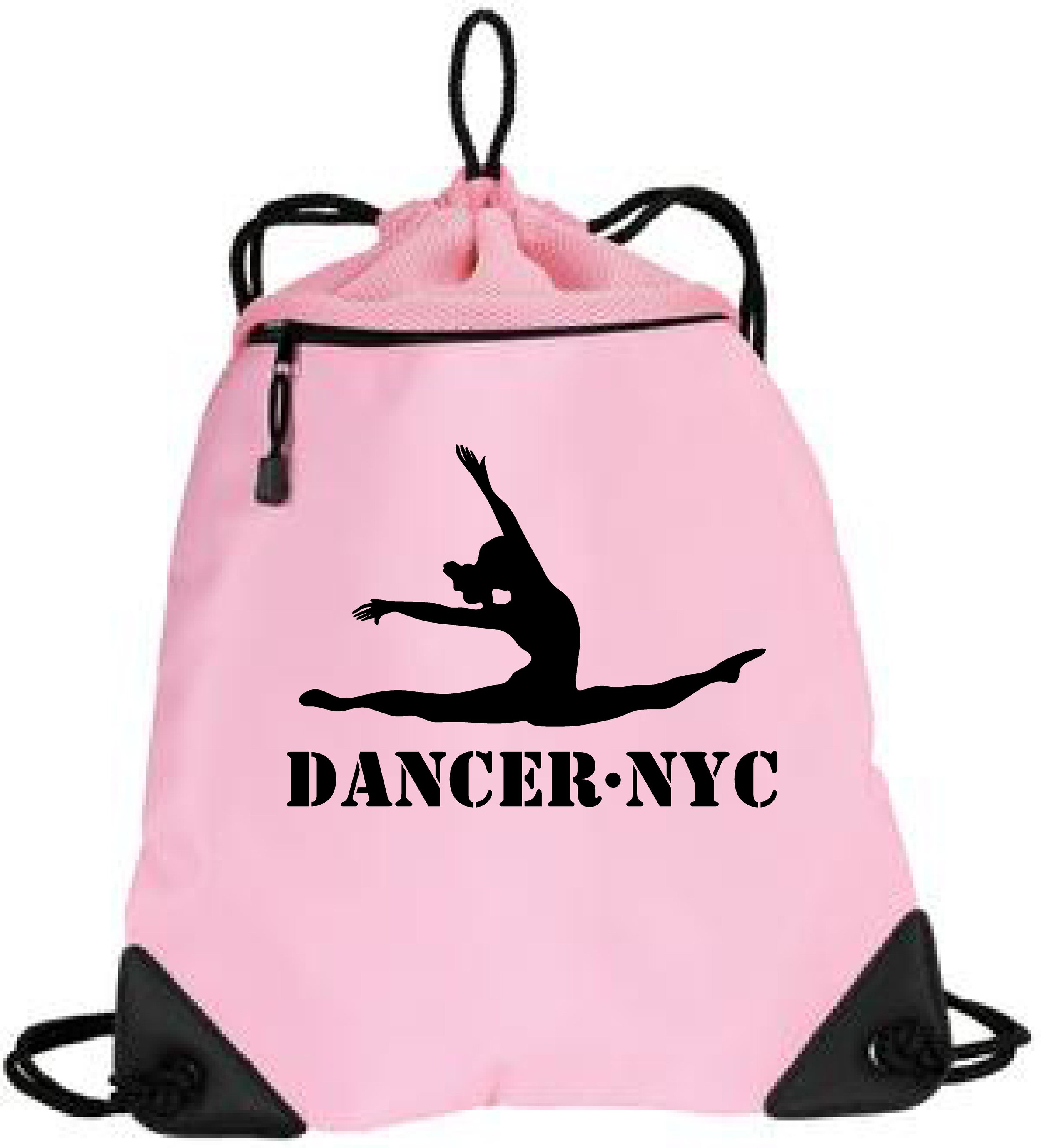 Dancer.NYC Drawstring Tote Bag 1- PINK - 100% polyester microfiber and air mesh