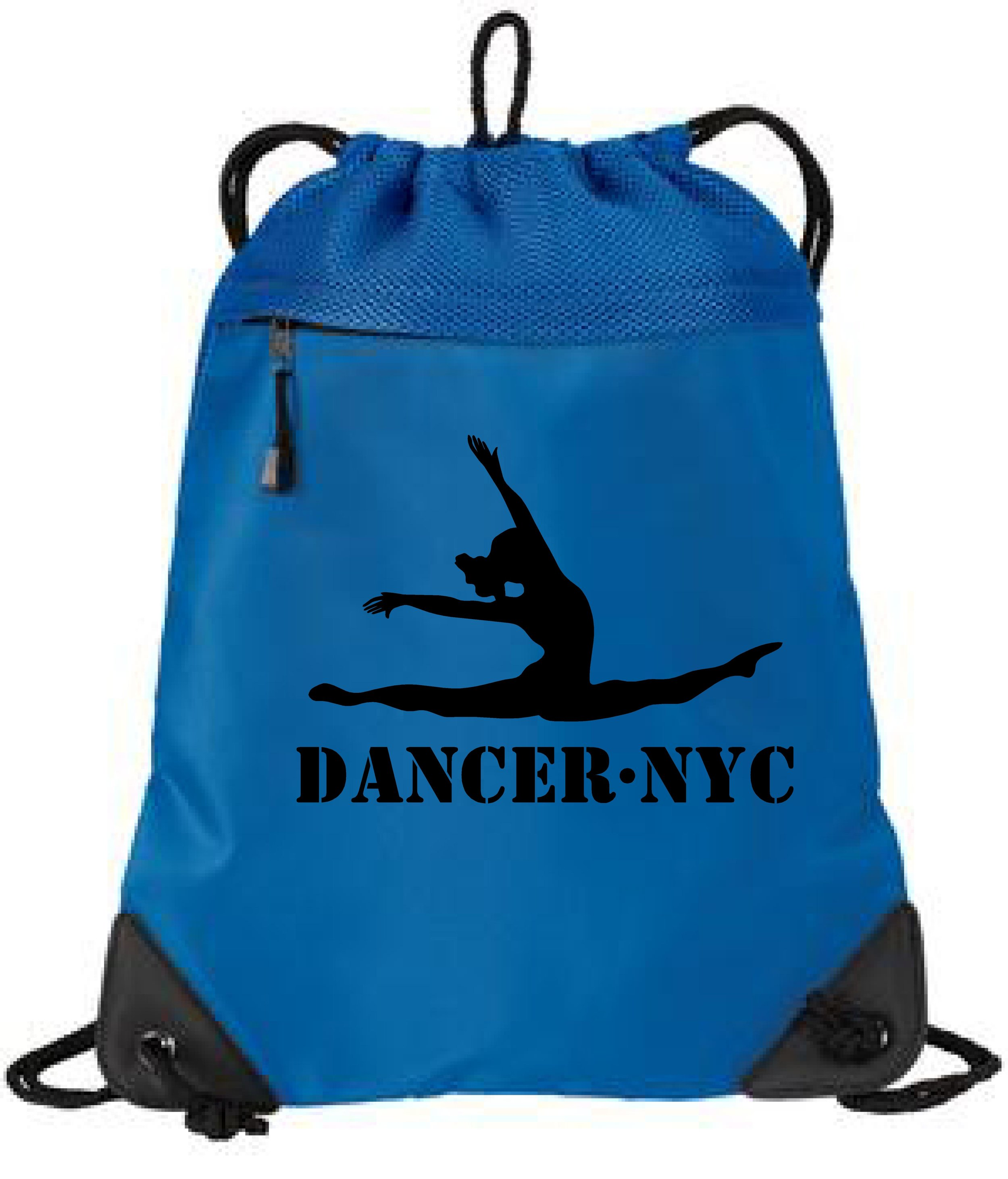 Dancer.NYC Drawstring Tote Bag 1- BLUE - 100% polyester microfiber and air mesh