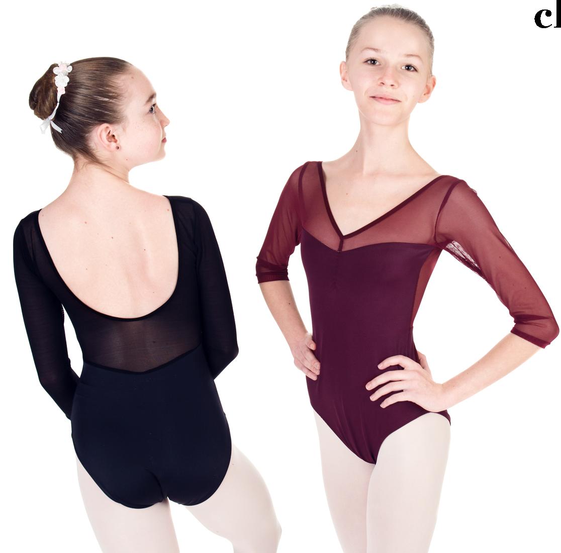 "Dance Leotard - ""EPAULMENT"" Leotard with Mesh - Custom Designed Dance Wear by Dancer.NYC"