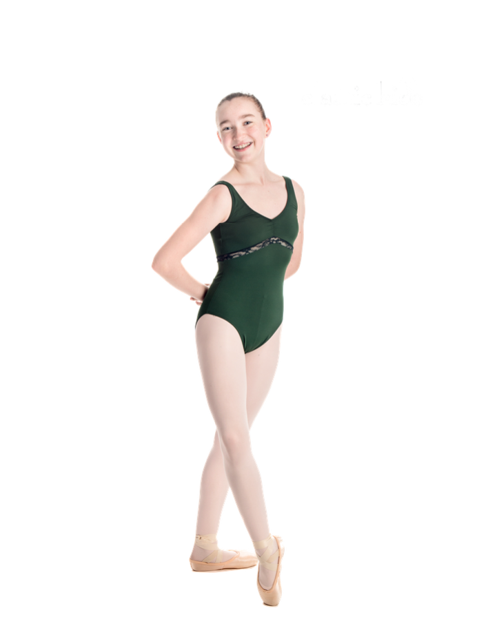 """""""Aurora"""" Sleeveless Dance Leotard with Mesh, Lace and Velvet Trim Accents - Custom Designed Leotards - Child and Adult Sizes"""