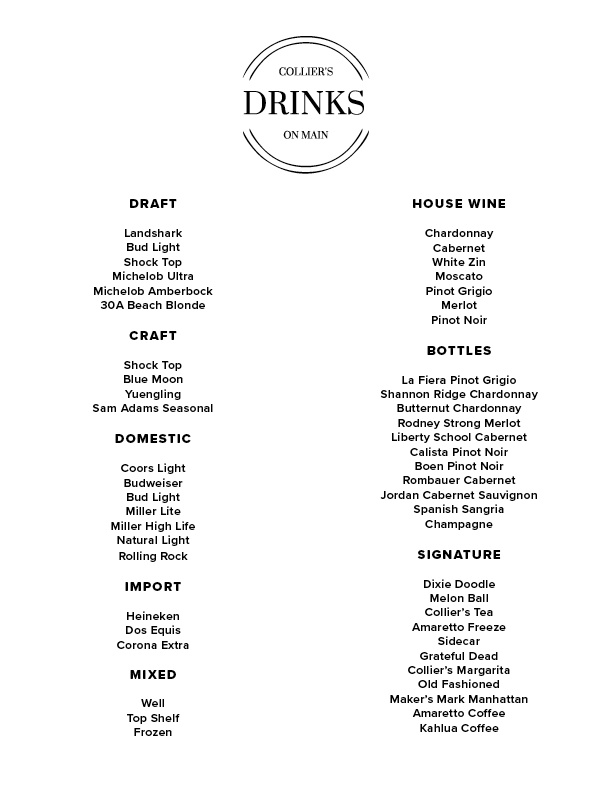 Collier's On Main Drink List