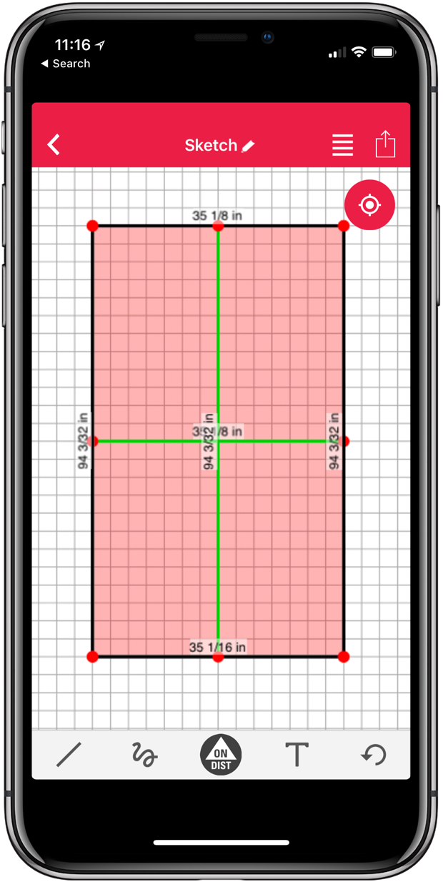 iOS App - Here is an at scale measurement of a door in our house