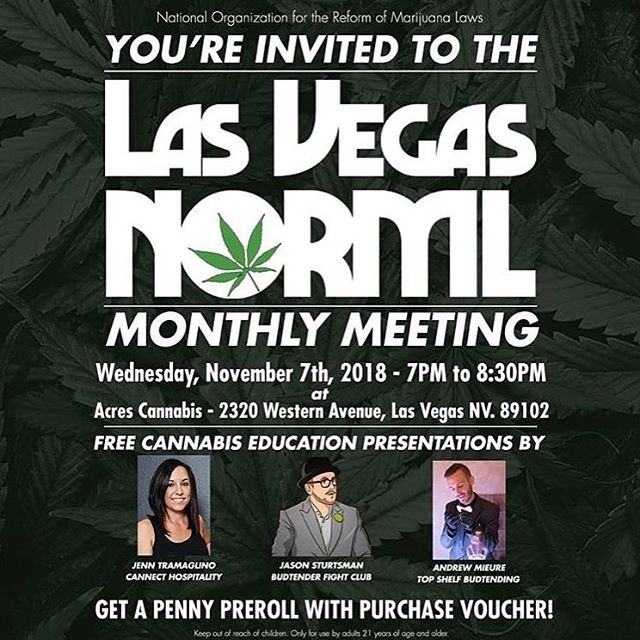 @lasvegasnorml ・・・ Next Wednesday we are back at @undergroundlvofficial and ready to talk about SOCIAL CONSUMPTION! 🎆🎉🍻 Have you been wondering what the proposed ordinance is? Dying to know how you can get a license? Then this meeting is for you. ・・・ Jenn T. @jenntcannect has been working diligently with the city of Las Vegas on the ordinance and has founded her hospitality company, Cannect, to consult potential venues on this flagship voyage! Her background in LV nightlife is a huge asset for this emerging industry. 👏 Jason Sturtsman @budtenderfightclub has been advocating for progression in Marijuana laws for Nevada since the beginning, and has played an active role in working with the state on cannabis reform issues. Jason advocates well on behalf of the consumer and hates to see over-criminalization. Andrew Mieure @topshelfbudtending is a budtending strategist, and he is going to take the social use scene to the next level with his unprecedented techniques! He too has been working with regulators on establishing the framework for consumption venues.  #norml #freedomisnorml #normlmeeting #cannabis #socialconsumption #budtenderlife #hospitalitymanagement #hospitality #marijuana #budtender #budtenders #bar #nightclub #nightlife #lasvegas #vegas #hightimes #cannabiscommunity #cannabisevents #lounge #cafe #venues #instaweed