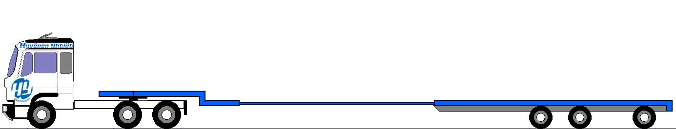 Kokonaispituus 19,9 m, alapedin lastauspituus 16,2 m ja lastauskorkeus 0,86 m / kantavuus max 46,0 tn