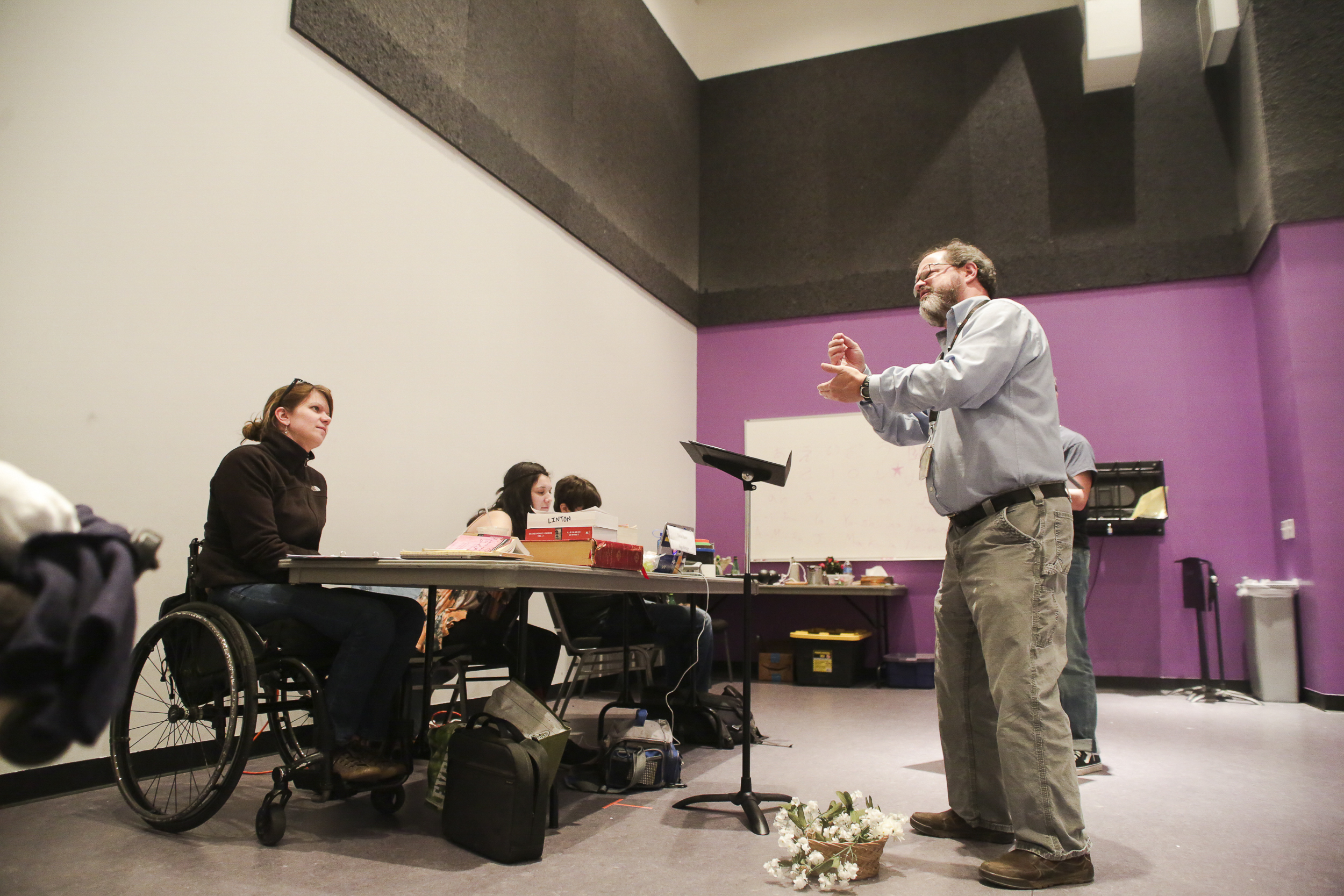 Kevin Pettit, 50, recites his lines during a rehearsal for the play of Romeo and Juliet, as Regan Linton, the director of the play, gives feedback to him at the Denver Arts Center on April 5, 2018. Pettit is an active participant in the Phamaly Theater group, which is a theater production company with people whom all have different kinds of disabilities.