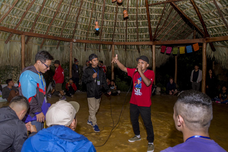 "Miguel Ixcaya ""Princsboys"" raps during a freestyle competition group Juun Ajpu Koj, in San Marcos La Laguna, Lake Atitlán, on December 15, 2018."